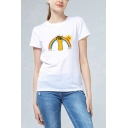 Basic Womens Short Sleeve Crew Neck Rainbow Fist Sun Printed Relaxed Fit T Shirt in White