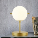 1 Light Bedside Table Light Postmodern Gold Finish Night Lamp with Ball Cream Glass Shade