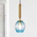 Black/Gold Finish Tulip Ceiling Light Modernist 1 Light Blue/Smoke Gray Dimpled Glass Suspended Pendant Lamp