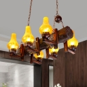 Vase Shade Dining Room Island Light Fixture Vintage Yellow Water Glass 6-Head Brown Pendant Lamp with Resin Linear Beam