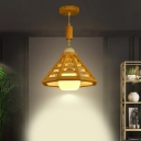 Beige Cone Cage Ceiling Pendant Light Modernist 1-Head Wood Hanging Lamp Fixture over Table