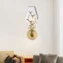 Panel Sconce Light Fixture Modernist Crystal 1 Head Brass Wall Mount Lamp with Antler Pattern
