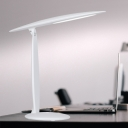 LED Bedroom Task Light Minimalism White Finish Rotatable Reading Book Lamp with Oval Plastic Shade