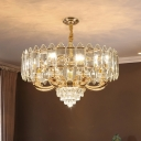Modernist Drum Hanging Chandelier 10 Bulbs Crystal Block Ceiling Suspension Lamp in Gold