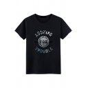 Cool Mens Short Sleeve Round Neck Letter LOOKING FOR TROUBLE Print Loose Tee Top