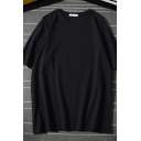 Casual Mens Simple Solid Color Short Sleeve Round Neck Loose Fit Tee Top