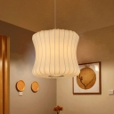 Curvaceous Drum Bistro Hanging Light Contemporary Fabric 1-Light 14.5