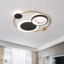 Modernist Orbit Acrylic Flush Mount Light LED Ceiling Lamp in Gold for Living Room, Warm/White Light