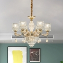 Crystal Cylindrical Hanging Chandelier Modernist 6/8 Lights Dining Room Ceiling Pendant Lamp in Gold