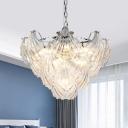 10-Light Layered Shell Shape Chandelier Modern Chrome Transparent Glass Pendant Ceiling Light