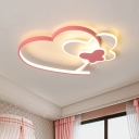 Modernist Butterfly Ceiling Mounted Light Acrylic Bedroom LED Flush Mount with Loving Heart Frame in Pink