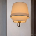 1 Bulb 2 Shades Wall Light Simple White Fabric Wall Sconce in Brass/Black with Braided Trim