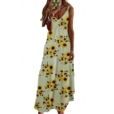 Summer Vacation Ladies Sleeveless V-Neck All Over Flower Pattern Maxi A-Line Cami Dress