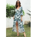Gorgeous Ladies Light Blue Bell Sleeves Surplice Neck All Over Leaf Printed Long Wrap Dress