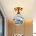 Mini Ball Gradient Blue Glass Semi Flush Postmodern 1 Light Brass Ceiling Mounted Lamp