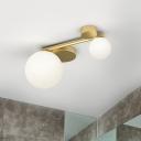 Frosted White Glass Ball Flush Mount Postmodern 2 Heads Brass Ceiling Lighting Fixture