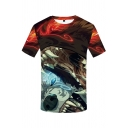 Cool Guys Red Short Sleeve Crew Neck Creepy Cartoon Animal 3D Pattern Regular Fit T-Shirt