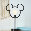 Mouse Head Frame Table Light Cartoon Metal Black/Gold Finish LED Nightstand Lamp for Bedside