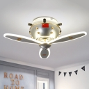 Nose of Airplane Flush Light Cartoon Metal LED Nickel Flush Mount Ceiling Lamp Fixture for Bedroom