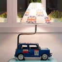 Yellow/Blue Finish Car Night Table Light Cartoon LED Metallic Desk Lamp with Barrel Fabric Shade for Bedside