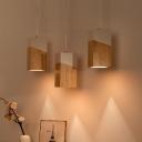 Wood Box Pendulum Light Nordic 1 Head Beige-White Ceiling Pendant Lamp for Bedroom