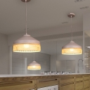 Nordic Splicing Pot Shaped Pendant Lamp Bamboo 1 Bulb Restaurant Hanging Light Fixture in White-Wood