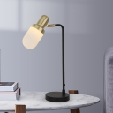 Capsule Night Table Light Modernist Frosted Glass 1-Light Black and Gold Nightstand Lamp