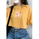 Kpop Girls Short Sleeve Round Neck Chinese Letter Print Relaxed Fit Crop T-Shirt