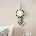 Metal Gooseneck Wall Light Designer 1 Bulb Black/Gold Sconce with Orb Glass Shade and Braided Rattan Detail