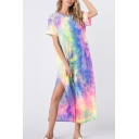 Casual Womens Short Sleeve Round Neck Tie Dye Pattern Slit Side Maxi Shift T-Shirt Dress