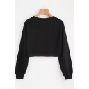 Simple Womens Long Sleeve Round Neck Solid Color Relaxed Cropped Pullover Sweatshirt