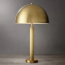 1 Bulb Bedroom Table Lamp Modernist Black/Gold Finish Night Light with Semicircle Metal Shade