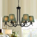 Country Style Barrel Suspension Light 6-Head Fabric Chandelier Lamp Fixture in Green