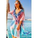 Girls Beach Batwing Sleeve V-Neck All Over Floral Leaf Pattern Chiffon Short Oversize Dress in Blue