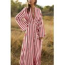 Trendy Ladies Long Sleeve Deep V-Neck Button Up Stripe Print Bow Tie Waist Maxi Flowy Dress
