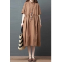 Popular Leisure Womens Short Sleeve Lapel Neck Button Up Solid Color Linen and Cotton Midi Swing Shirt Dress