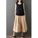 Casual Womens Solid Color Sleeveless Round Neck Button Up Linen and Cotton Loose Tank Top