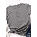 Basic Summer Roll Up Sleeve Crew Neck Hands Pattern Slim Fit T Shirt for Girls