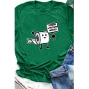 Summer Basic Roll Up Sleeve Crew Neck Toilet Paper Graphic Regular Fit T Shirt for Girls