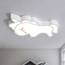 LED Bedroom Flush Lighting Cartoon White Flush Mounted Lamp with Unicorn Acrylic Shade
