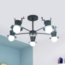 Macaron Antler and Hat Chandelier Metallic 5/8 Bulbs Living Room Radial Pendulum Light in Black/Grey