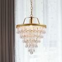 1 Bulb Waterdrop Ceiling Pendant Light Traditional Gold Crystal LED Suspension Lamp