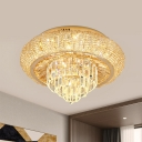 Circular Metal Flush Light Fixture Modern LED Bedroom Ceiling Lamp with Tiered Crystal Bottom in Gold