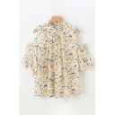 Chiffon Ditsy Floral Pattern Ruffled Trim Bell Sleeves Cold Shoulder Pleated Relaxed Pretty Blouse Top for Girls