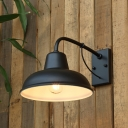 Metal Saucer Wall Mount Lighting Antiqued 1 Head Outdoor Wall Sconce Lamp in Black/Silver