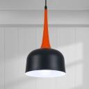 Bowled Kitchen Island Lighting Nordic Iron 1 Head Black Hanging Ceiling Light with Orange Handle