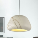Single Bulb Ceiling Pendant Light Nordic Dining Room Suspension Lighting with Bowl Aluminum Shade in Wood/Coffee/Green