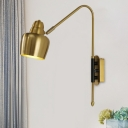 Retro Bowled Swivelable Wall Sconce 1-Light Iron Wall Mount Lighting in White/Antiqued Gold for Bedside