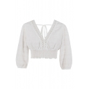 Girls White Blouson Sleeves V-Neck Bow Tie Back Lace Trim Elastic Hem Fit Cropped Sexy Blouse Top