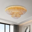 8 Heads 2 Tiers Flush Mount Traditional Gold Faceted Crystal Ball Ceiling Light Fixture